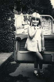 Kate by car