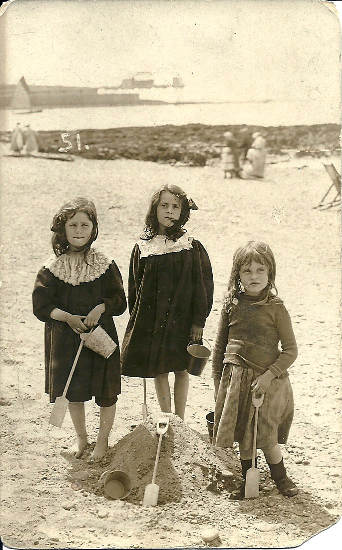 July 16, 1909, on the beach at Oswestry with Nancy and Betty
